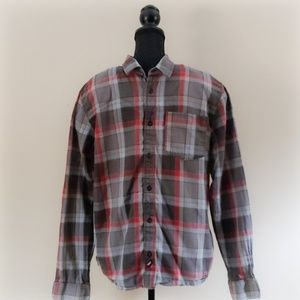 Vans Men's Gray Red Plaid Button Up Shirt Large